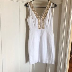 Lilly Pulitzer Eliot Shift Dress Gold Beaded White
